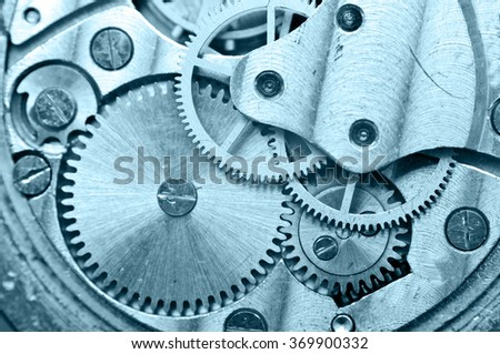 Gear wheels inside clock. Concept Teamwork , Idea Technology. Macro - stock photo