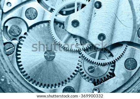 Gear wheels inside clock. Concept Teamwork , Idea Technology. Macro - stock photo