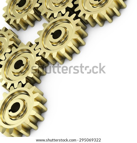 Gear wheels on white background. - stock photo