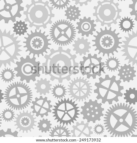 Gear wheels seamless pattern in black and white - stock photo