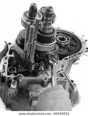 gearbox overhaul is being done - stock photo