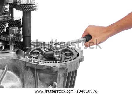 gearbox repairing on isolated background - stock photo
