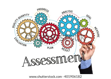 Gears and Assessment Mechanism on Whiteboard - stock photo