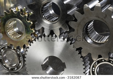 gears and bearings concept in its natural colors