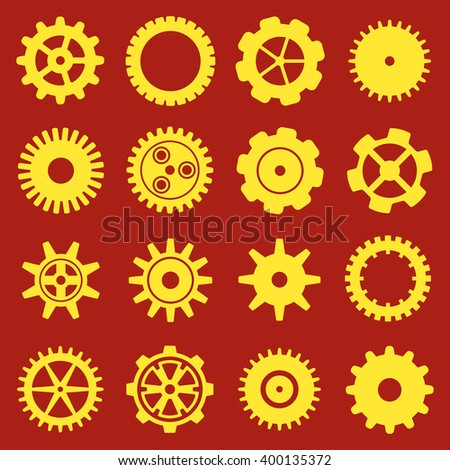 Gears and cogs icons set. Cog wheel Icon Collection. illustration of cog icons isolated on red background. - stock photo