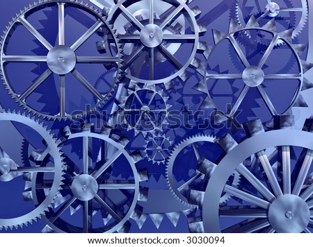 Gears and cogs make an abstract background - stock photo