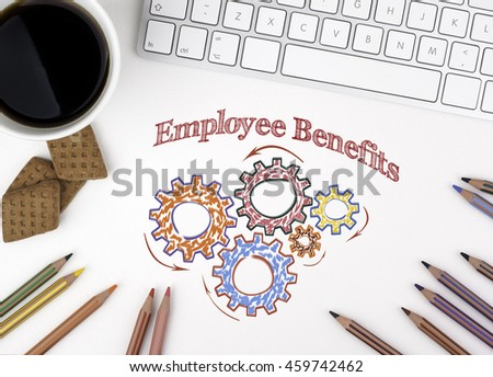 Gears and Employee Benefits Mechanism on White office desk - stock photo