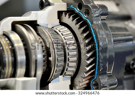 Gears and gearing from a gearbox. - stock photo