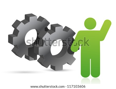 gears and icon illustration design over white background