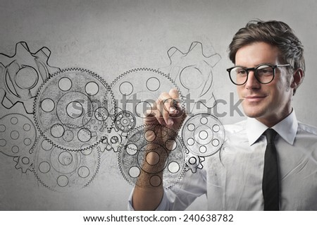 Gears and ideas  - stock photo