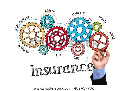 Gears and Insurance Mechanism on Whiteboard - stock photo