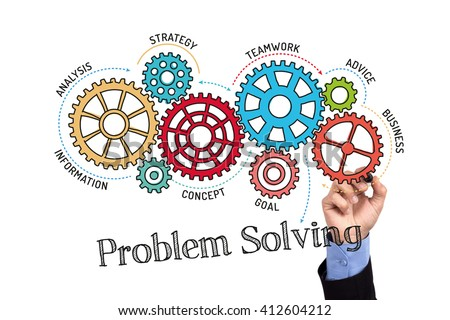 Gears and Problem Solving Mechanism on Whiteboard - stock photo
