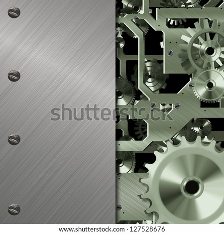 gears background with metal background - stock photo
