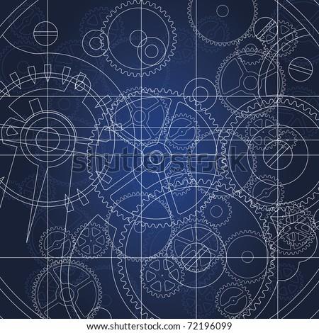 Gears blueprint - stock photo