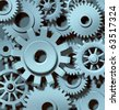 gears cogs motion metal industrial function team work working together connected metal - stock photo