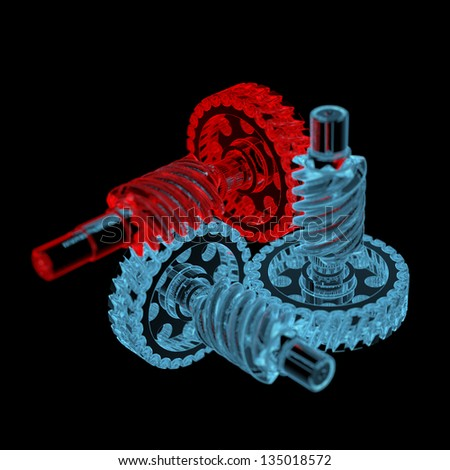 Gears (3D xray red and blue transparent isolated on black background) - stock photo