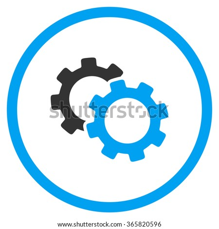 Gears glyph icon. Style is bicolor flat circled symbol, blue and gray colors, rounded angles, white background. - stock photo