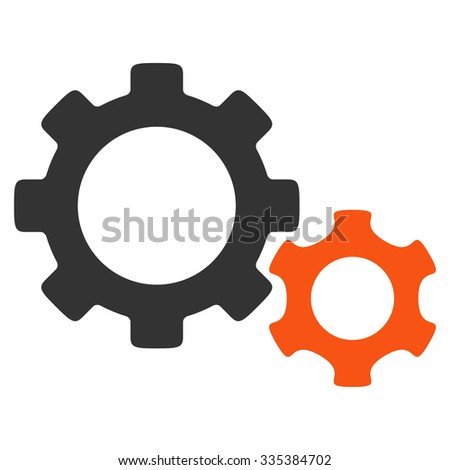 Gears glyph icon. Style is bicolor flat symbol, orange and gray colors, rounded angles, white background. - stock photo