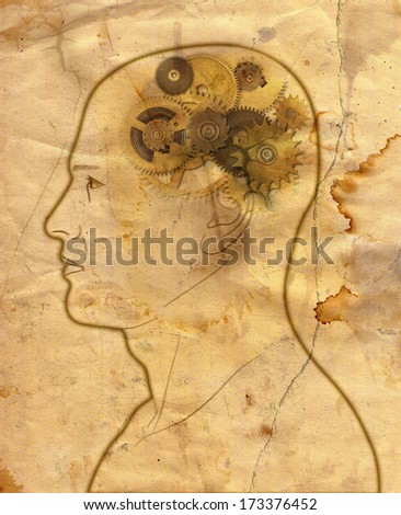 gears in the head - mechanical brain in grunge style - stock photo