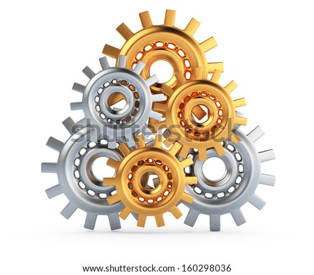 gears isolated on white background. 3d render - stock photo