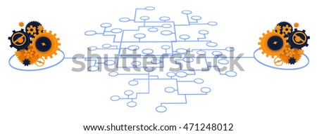 Gears linked by line network, 3d illustration, isolated, horizontal