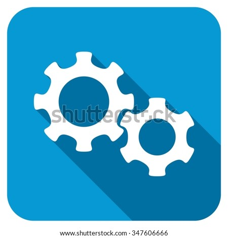 Gears longshadow icon. Style is a blue rounded square button with a white rounded symbol with long shadow. - stock photo
