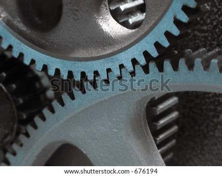 Gears Meshing, Synergy - stock photo