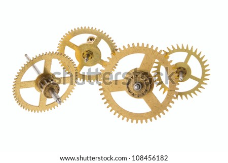 gears of the old clock on a white background - stock photo
