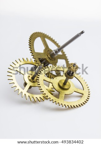 gears of the old clock on a white background