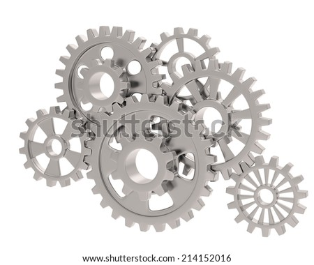 gears on white - stock photo