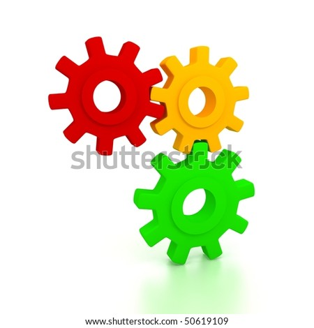 Gears over white background. 3d render - stock photo