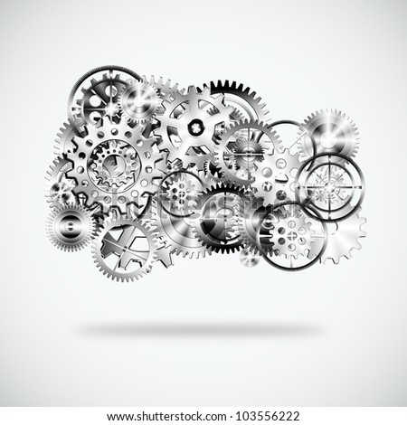 gears wheels design ,cloud shape , industrial background - stock photo