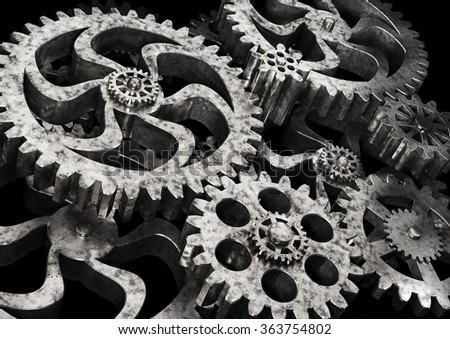 Gears wheels from rusty metal on black background. Highly detail render