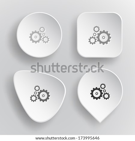 Gears. White flat raster buttons on gray background.