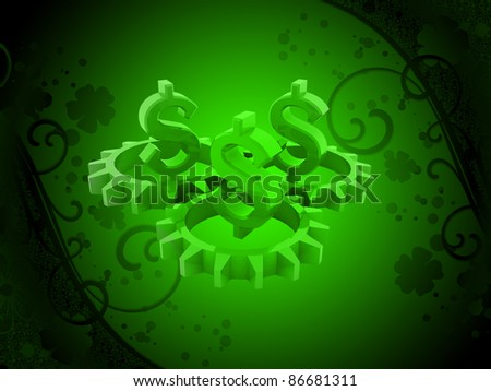Gears with dollar sign in a digital background - stock photo