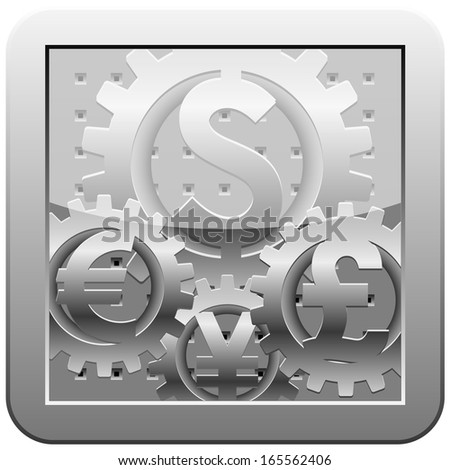 Gears with signs of world currencies. Abstract representation of forex market mechanism - stock photo