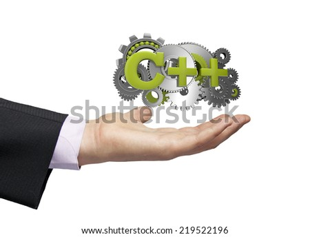 gears with text c++ over a businessman hand - stock photo