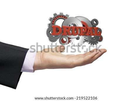 gears with text drupal over a businessman hand - stock photo