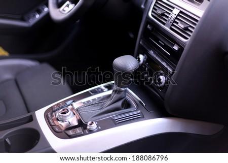 Gearshift in a modern car - stock photo