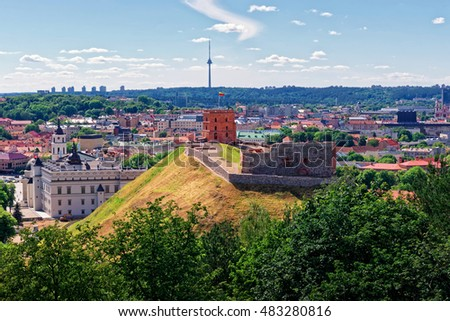 Gediminas Tower on the hill and Grand Dukes Lower Castle in Vilnius, Lithuania. Gediminas Tower is also called as Upper Castle. Lithuania is one of the Baltic countries in the Eastern Europe.