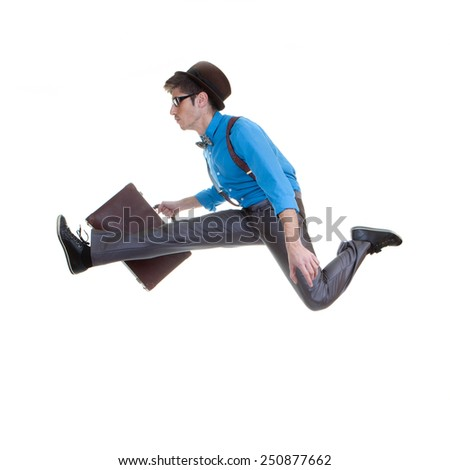 geek business man in hurry ,  fast speed - stock photo