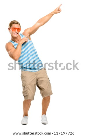 Geek muscle man isolated on white background - stock photo