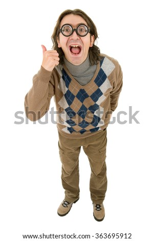 geek silly man full length going thumb up, isolated - stock photo
