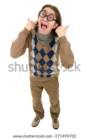 geek silly man full length going thumbs up, isolated - stock photo