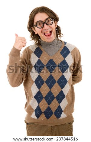 geek teacher going thumb up, isolated on white background - stock photo