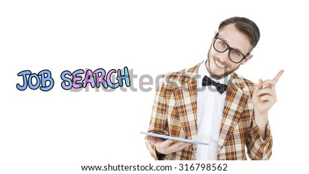Geeky hipster holding a tablet pc against job search - stock photo