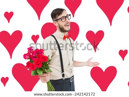 Geeky hipster offering bunch of roses against valentines day pattern - stock photo