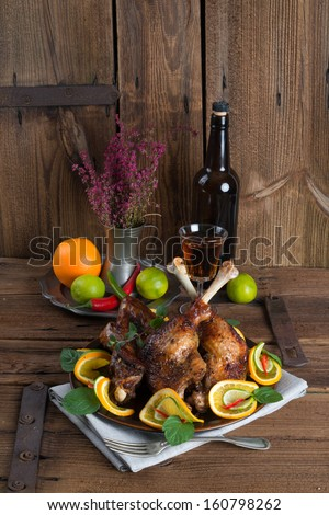 geese meat for St. Martin's Day - stock photo