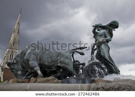 Gefion Fountain in Copenhagen. Denmark - stock photo