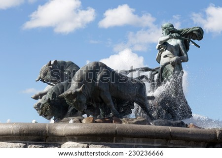 Gefion Fountain side, Denmark - stock photo
